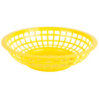 Choice 8 inch x 2 inch Round Yellow Plastic Fast Food Basket - 12/Pack