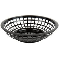 Choice 8 inch x 2 inch Round Black Plastic Fast Food Basket - 12/Pack