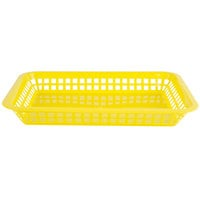 Choice 12 inch x 8 1/2 inch x 1 1/2 inch Yellow Rectangular Plastic Fast Food Basket - 12/Pack