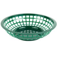 Choice 8 inch x 2 inch Round Forest Green Plastic Fast Food Basket - 12/Pack