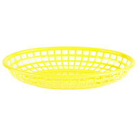 Choice 9 1/4 inch x 5 3/4 inch x 1 1/2 inch Yellow Oval Plastic Fast Food Basket - 12/Pack