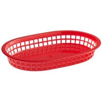 Choice 11 inch x 7 inch x 1 1/2 inch Red Oval Plastic Fast Food Basket - 12/Pack
