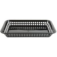 Choice 12 inch x 8 1/2 inch x 1 1/2 inch Black Rectangular Plastic Fast Food Basket - 12/Pack