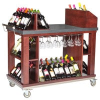 Bon Chef 50048 48 inch x 24 inch x 45 1/2 inch Mahogany Wine and Cordial Cart