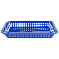 Choice 12 inch x 8 1/2 inch x 1 1/2 inch Blue Rectangular Plastic Fast Food Basket   - 12/Pack