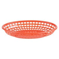 Choice 9 1/4 inch x 5 3/4 inch x 1 1/2 inch Red Oval Plastic Fast Food Basket   - 12/Pack