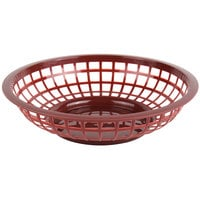 Choice 8 inch x 2 inch Round Brown Plastic Fast Food Basket - 12/Pack
