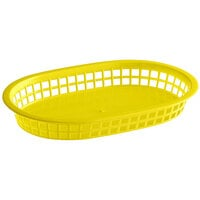 Choice 11 inch x 7 inch x 1 1/2 inch Yellow Oval Plastic Fast Food Basket - 12/Pack