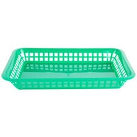 Choice 12 inch x 8 1/2 inch x 1 1/2 inch Green Rectangular Plastic Fast Food Basket - 12/Pack