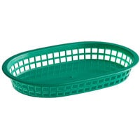 Choice 11 inch x 7 inch x 1 1/2 inch Green Oval Plastic Fast Food Basket - 12/Pack