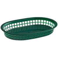 Choice 11 inch x 7 inch x 1 1/2 inch Forest Green Oval Plastic Fast Food Basket - 12/Pack