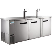 Avantco UDD-4-HC-S Stainless Steel Kegerator / Beer Dispenser with (2) 2 Tap Towers - (4) 1/2 Keg Capacity