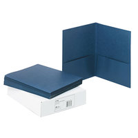 Avery 47985 Letter Size 2-Pocket Paper Folder, Dark Blue - 25/Box