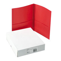Avery 47979 Letter Size 2-Pocket Paper Folder with Prong Fasteners, Red - 25/Box