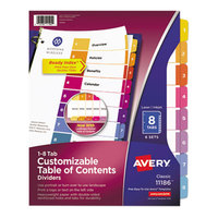 Avery 11186 Ready Index 8-Tab Multi-Color Table of Contents Divider Set - 6/Pack