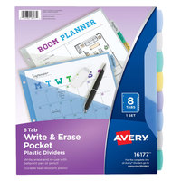 Avery 16177 Big Tab 8-Tab Multi-Color Write-On Plastic Pocketed Dividers