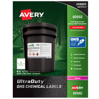 Avery 60502 UltraDuty 4 3/4 inch x 7 3/4 inch GHS Chemical Labels for Laser Printers - 100/Box
