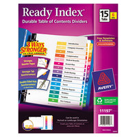 Avery 11197 Ready Index 15-Tab Multi-Color Table of Contents Divider Set - 6/Pack