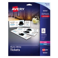 Avery 16154 1 3/4 inch x 5 1/2 inch Matte White Printable Tickets with Tear-Away Stubs - 20/Pack