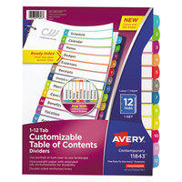 Avery 11843 12-Tab Multi-Color Customizable Table of Contents Dividers