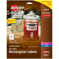 Avery 22827 3 1/2 inch x 4 3/4 inch White Rectangular Removable Labels - 32/Pack