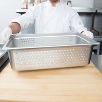 Choice Full Size 6 inch Deep Anti-Jam Perforated Stainless Steel Steam Table / Hotel Pan - 24 Gauge