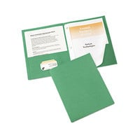Avery 47977 Letter Size 2-Pocket Paper Folder with Prong Fasteners, Green - 25/Box