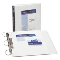 Avery 17590 White Flip Back 360 Degree View Binder with 1 1/2 inch Round Rings