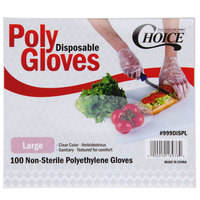 Choice 100-Count Large Disposable Food Service Poly Gloves - 1000/Box