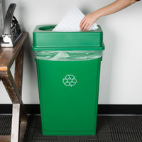 Lavex Janitorial 23 Gallon Green Slim Rectangular Recycling Can and Green Drop Shot Lid