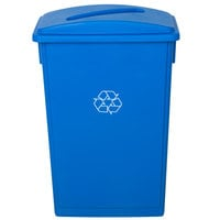 Lavex Janitorial 23 Gallon Blue Slim Rectangular Recycling Can and Blue Lid with Slot