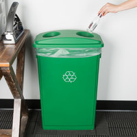 Lavex Janitorial 23 Gallon Green Slim Rectangular Recycling Can and Green Lid with Holes