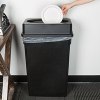 Lavex Janitorial 23 Gallon Black Slim Rectangular Trash Can and Black Drop Shot Lid