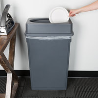 Lavex Janitorial 23 Gallon Gray Slim Rectangular Trash Can and Gray Drop Shot Lid
