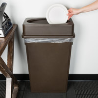 Lavex Janitorial 23 Gallon Brown Slim Rectangular Trash Can and Brown Drop Shot Lid