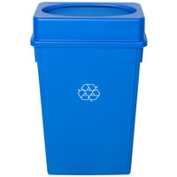 Lavex Janitorial 23 Gallon Blue Slim Rectangular Recycling Can and Blue Drop Shot Lid
