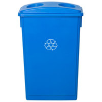 Lavex Janitorial 23 Gallon Blue Slim Rectangular Recycling Can and Blue Lid with Holes