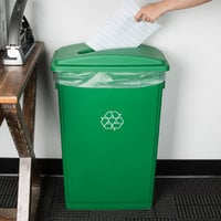 Lavex Janitorial 23 Gallon Green Slim Rectangular Recycling Can and Green Lid with Slot