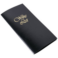 Menu Solutions L702C 5 1/2 inch x 11 inch Black Wine List Cover