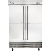 Avantco SS-2R-4-HC 54 inch Stainless Steel Solid Half Door Reach-In Refrigerator