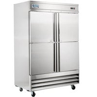 Avantco SS-2F-4-HC 54 inch Stainless Steel Solid Half Door Reach-In Freezer