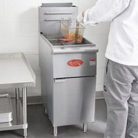 Avantco FF400 Natural Gas 50 lb. Stainless Steel Floor Fryer