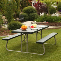 Lifetime 22123 30 inch x 72 inch Rectangular Hunter Green Plastic Folding Picnic Table with Attached Benches