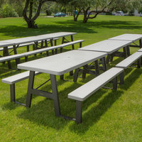 Lifetime 60030 29 inch x 72 inch Rectangular White W-Frame Folding Picnic Table with Attached Benches