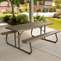 Lifetime 60105 30 inch x 72 inch Rectangular Brown Faux Wood Folding Picnic Table with Attached Benches