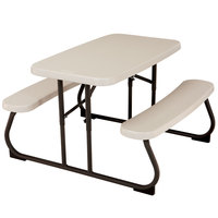Lifetime 280094 19 inch x 32 3/8 inch Rectangular Almond Plastic Kids Folding Picnic Table with Attached Benches