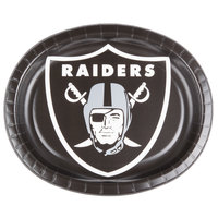 Creative Converting 069523 Las Vegas Raiders 10 inch x 12 inch Oval Paper Platter - 96/Case