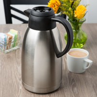 Choice 64 oz. Insulated Thermal Coffee Carafe / Server with Regular and Decaf Brew Thru Lids - 10 3/4 inch x 5 1/4 inch