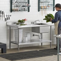 Regency 30 inch x 60 inch 16 Gauge Stainless Steel Work Table with Sink - Sink on Right