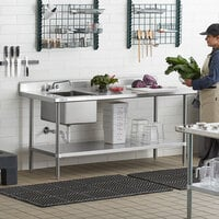 Regency 30 inch x 72 inch 16 Gauge Stainless Steel Work Table with Sink - Sink on Right